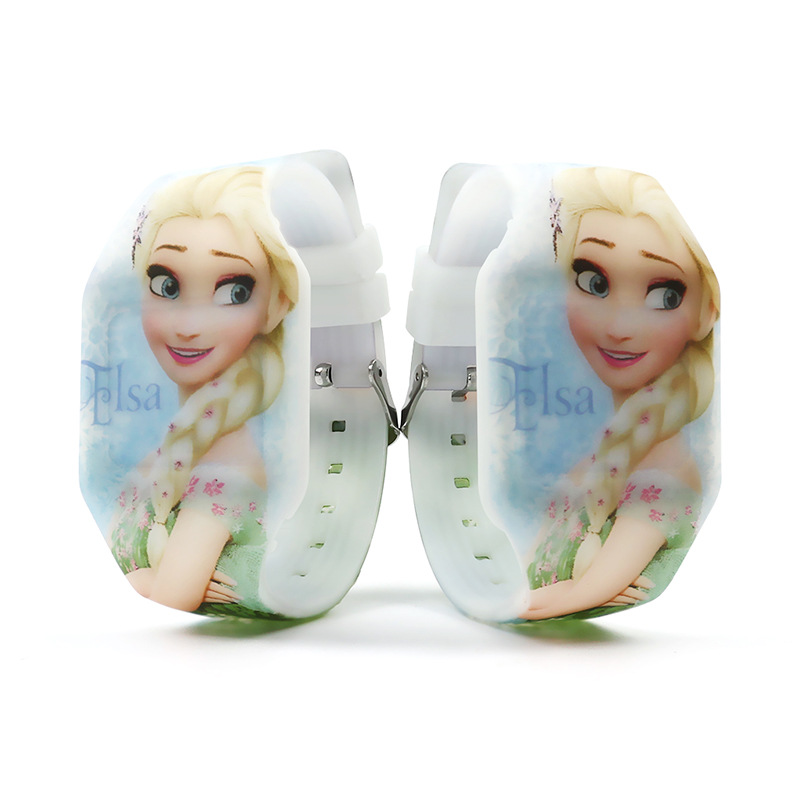 Frozen LED Electronic Watch Children's Luminous Aisha Watch Girls Cartoon Silicone Watch