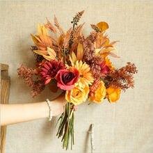 Herbst Gefälschte Rose Blumen Hohe Qualität Herbst Gerbera Daisy Künstliche Blume Lange Bouquet für Home Hochzeit Dekoration Herbst lassen
