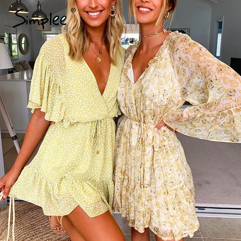 Simplee Sexy V-neck Women Chiffon Dress Polka Dot Ruffled Sash Summer Dress Boho Casual Holiday Beach Wear Buttons Beach Dress