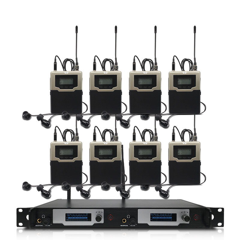 Wireless in-ear monitoring system, professionelle bühne leistung überwachung system mit 8 bodypack sender