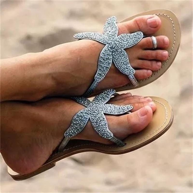 2021 Летняя мода классические трендовые однотонные стразы в форме морской звезды елочка на плоской подошве Удобные сандалии XM094