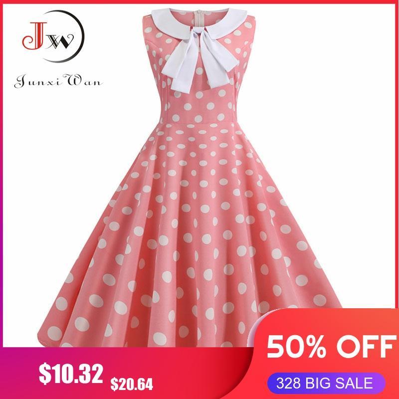 Plus Size Polka Dot Vintage Dress Women Summer Pink Rockabilly Office Party Dress Casual Peter Pan Collar Bow Sundress Vestidos