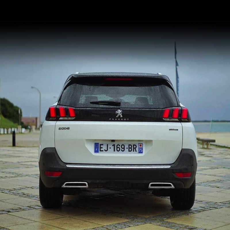 Silenciador de Escape Traseira do carro Para Peugeot 5008 3008 3008GT 2017 2018 2019 Cauda Extremidade do Tubo Tampa Decorativa Guarnição ABS Chrome modificação