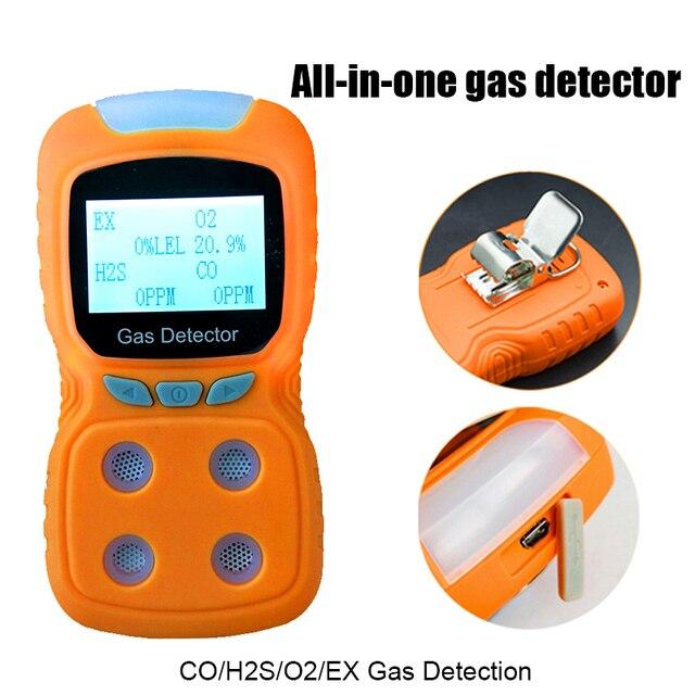 1pc 4 in one Rilevatore di Gas Portatile di Alta Precisione CO/H2S/O2/EX Gas tester con il Formato Compatto Spedizione gratuita