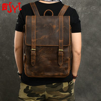 Men's Backpack Travel Backpacks Men Computer Bag Large Capacity School Bags Vintage Crazy Horse Leather Distressed Thin Leather
