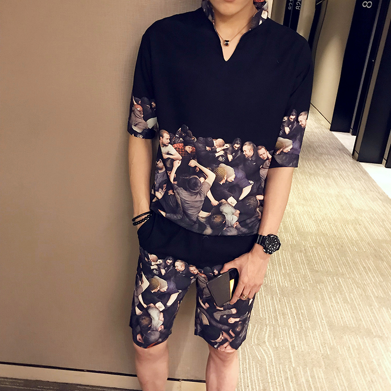 Fashion Trend Cotton Printing Color Casual Slim Street Sportswear Two-piece 2020 Men's Shorts Short-sleeved Two-piece Hot Sale