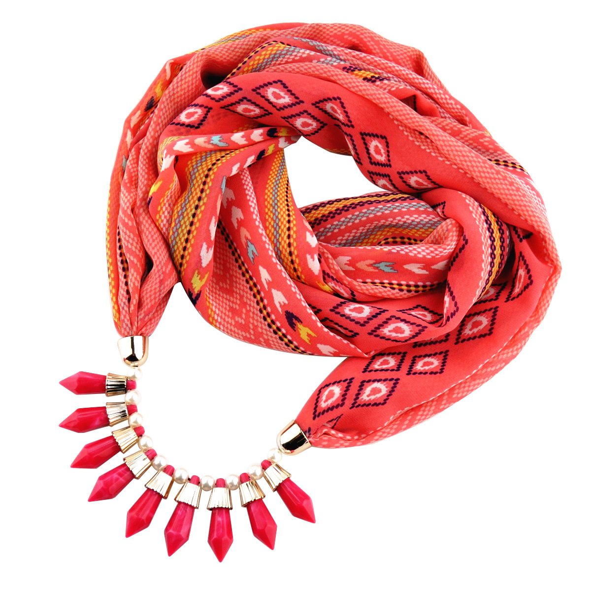 Fashion multi-color chiffon round and acrylic necklace pendant womens scarf