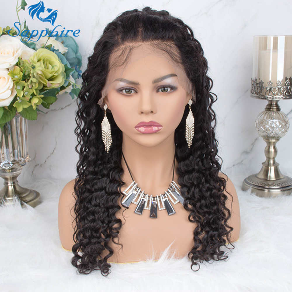 H612840a549f442cb8f0297e707c96b01e Preplucked 360 Deep Part Lace Frontal Human Hair Wigs Density Brazilian Deep Water Wave Human Hair Wigs For Women Black