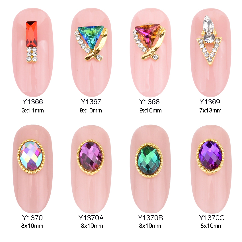10pcs Gold Oval 3d Metal Nail Art Decoration Color Stone Strass Nail Gem Design Decoracion Uñas Rhinestone Charms  Y1366~1370