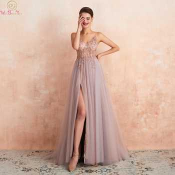 Pink Formal Party A-Line Split Prom Dresses 2020 Blue Beaded Crystal Sleeveless Spaghetti Straps vestidos de gala Evening Gowns - DISCOUNT ITEM  32 OFF Weddings & Events