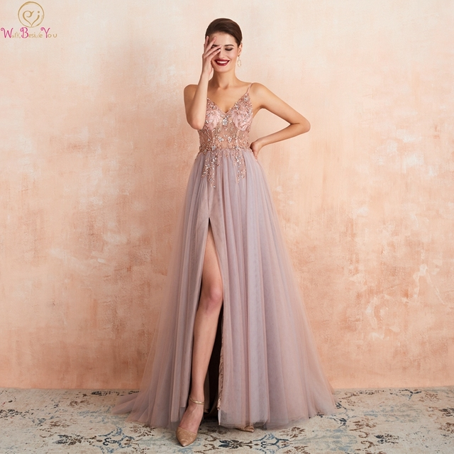 Pink Formal Party A Line Split Prom Dresses 2020 Blue Beaded Crystal Sleeveless Spaghetti Straps vestidos de gala Evening Gowns