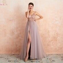Różowa formalna party line Split suknie balowe 2020 niebieska wyszywana kryształkami bez rękawów paski spaghetti vestidos de gala suknie wieczorowe