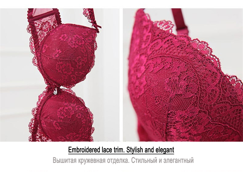 Classic Black Women Underwear Lace Embroidery Push up Bra Cotton Thick Brassiere A B C Cup Sexy Bras Adjustable Deep V Lingerie 12