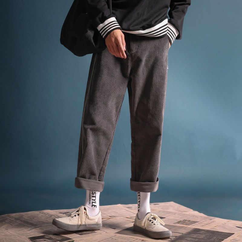 빈티지 퍼플 솔리드 코듀로이 루즈 스트레이트 와이드 레그 팬츠 여성 조깅 하렘 스웨트 팬츠 캐주얼 카고 바지 Streetwear