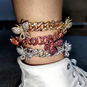 Link-Chain Anklets Foot-Bracelets Beach Jewelry Boho Cuban Butterfly Women Zircon CZ