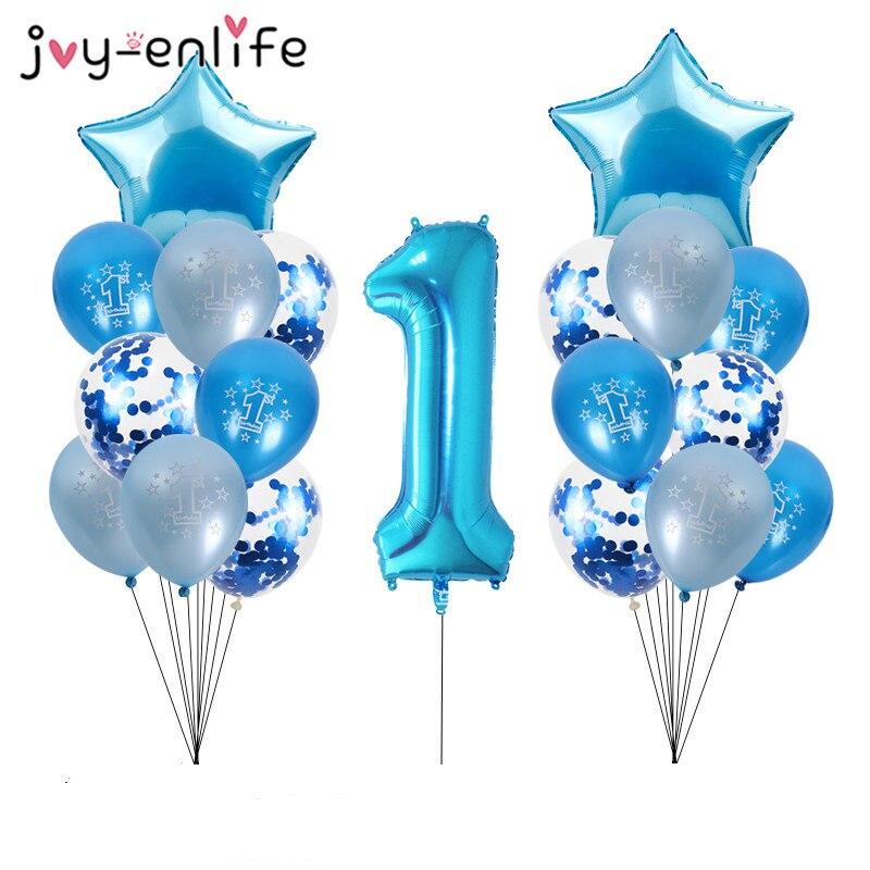 1 ano menino aniversário azul látex balões confetes conjunto primeiro 1st aniversário chuveiro do bebê menino decorações crianças feliz aniversário balão