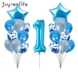 Balões de látex azuis para meninos de 1 ano, conjunto de balões de confete para decoração da primeira aniversário, chá de bebê, menino, feliz aniversário