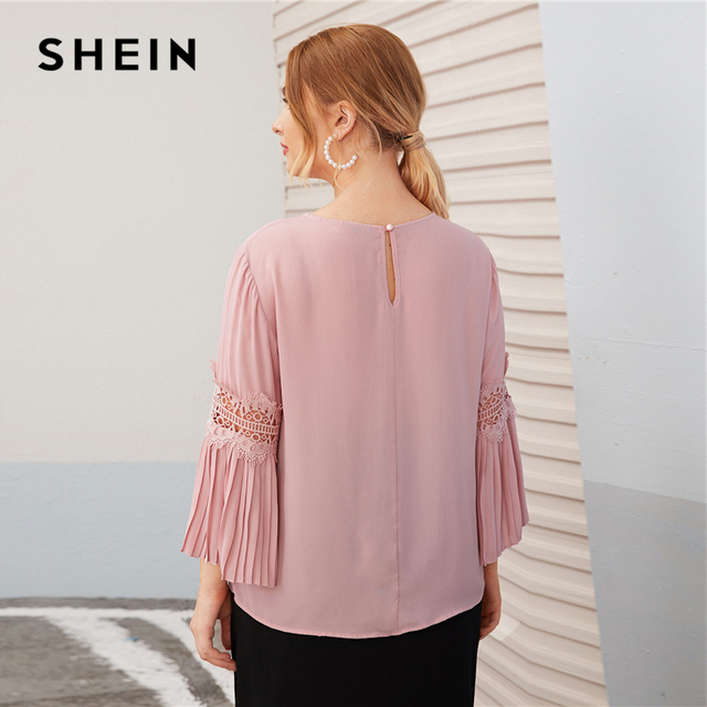 SHEIN Plus Size Pink Keyhole Back Lace Insert Pleated Sleeve Top Women Autumn Round Neck Solid Elegant Office Lady Plus Blouses 1
