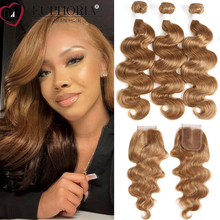 Body-Wave-Bundles Hair Lace-Closure Blonde Euphoria Brazilian with Red Burg Remy 4x4