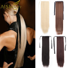 AISI BEAUTY Long Straight Hair Extensions Synthetic High Temperature Silk Straight Ponytail Hair Blonde Brown Black for Women(China)