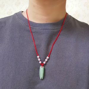 Natural Green Jade Pendants Necklaces For Men Women Carved Insect Cicada Red Rope Chain Necklace Adjusted Fine Jewelry Gift 2020(China)