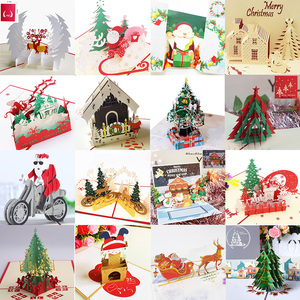 Merry Christmas Cards 3D Pop UP Christmas Tree Cards Christmas Decoration Winter Gift Laser Cut New Year Santa Greeting Cards