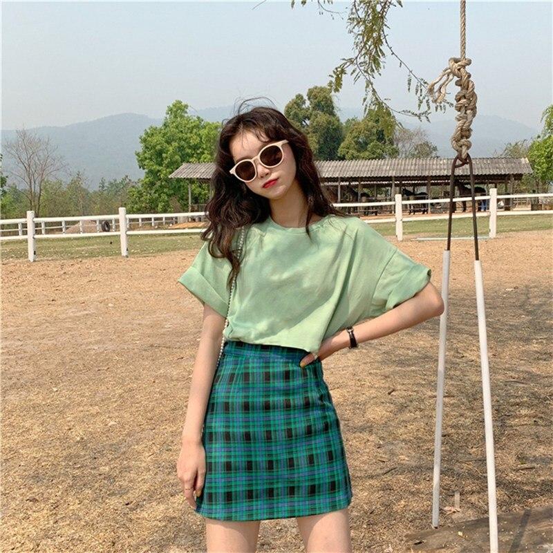 483.21руб. 28% СКИДКА|Женская юбка с высокой талией, цветная клетчатая юбка, тонкая темпераментная трапециевидная юбка, простая юбка для женщин|Юбки| |  - AliExpress