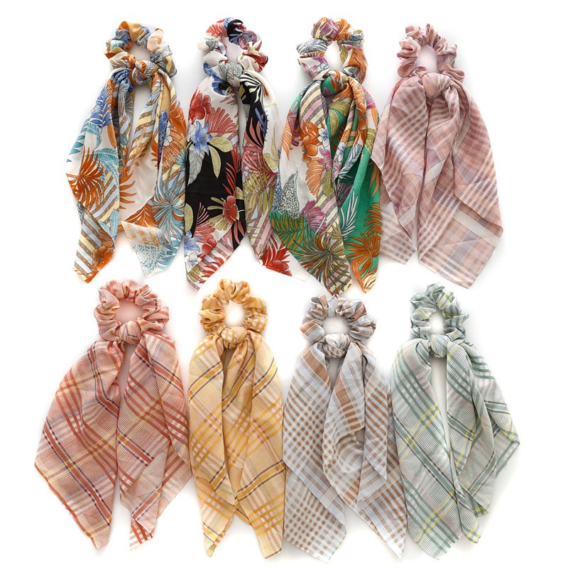 Hot New Trendy Style Ponytail Scarf Elastic Hair Rope For Women Hair Bow Ties Scrunchies Hair Bands Flower Print Ribbon Hairband