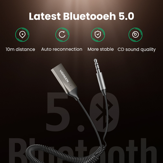 UGREEN Bluetooth Aux Adapter Wireless Car Bluetooth Receiver USB to 3.5mm Jack Audio Music Mic Handsfree Adapter for Car Speaker 6