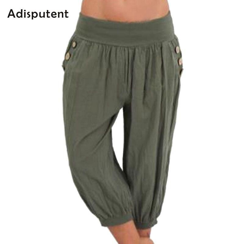 ADISPUTENT Women Summer Solid Harem   Pants   Loose Knee Length Linen Trousers Female Elastic Waist   Capris     Pants   Plus Size 5XL