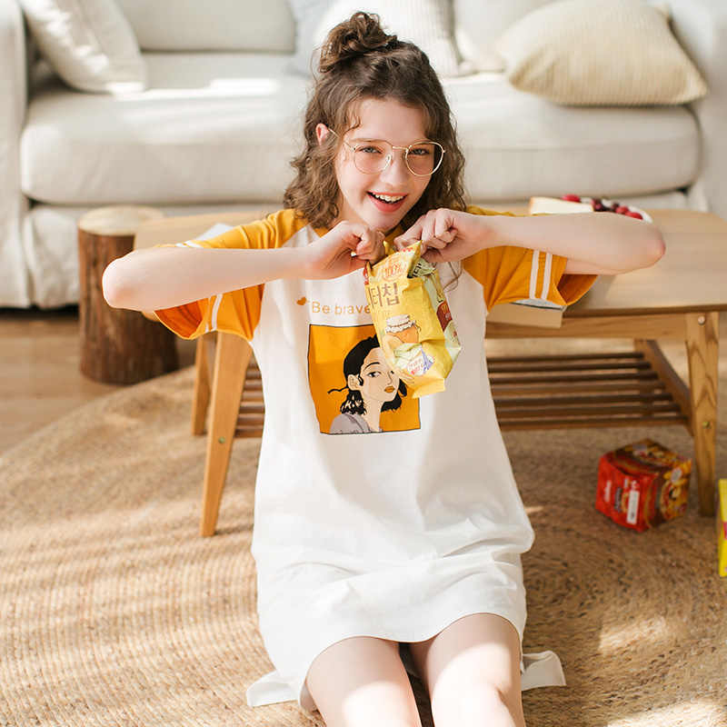 Fenteng Zomer Pyjama Vrouwen Nachtkleding Katoen Patchwork Nachtkleding Jurk Gedrukt Comfortabele Vrouwelijke Homewear Thuis Jurk X98020213