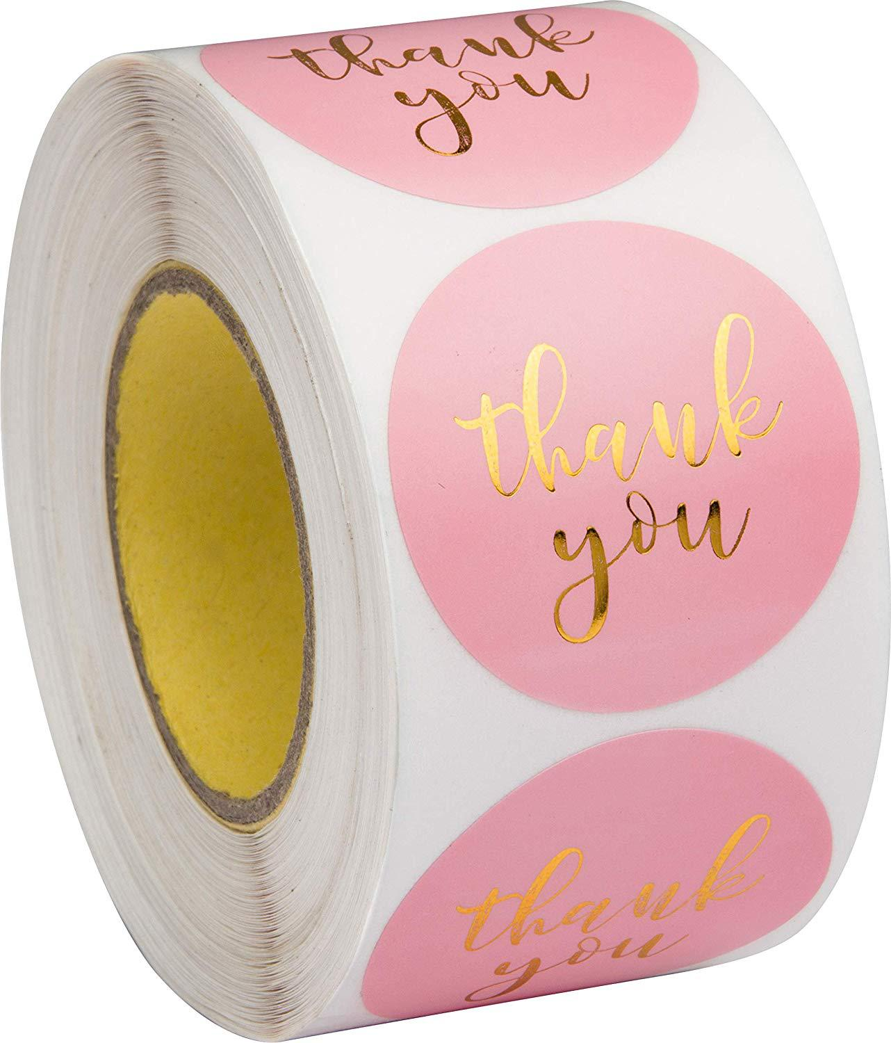 Gold Foil Pink Thank You Stickers  Scrapbooking 1inch 500pcs Wedding Stickers Party Favors Envelope Labels, Stationery Stickers