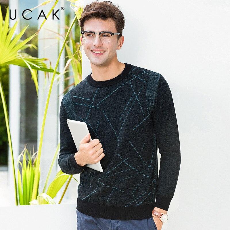 UCAK Brand 100% Merino Wool Sweater Men Streetwear Fashion Striped Pull Homme Autumn Winter Pullover Men Cashmere Sweaters U3079