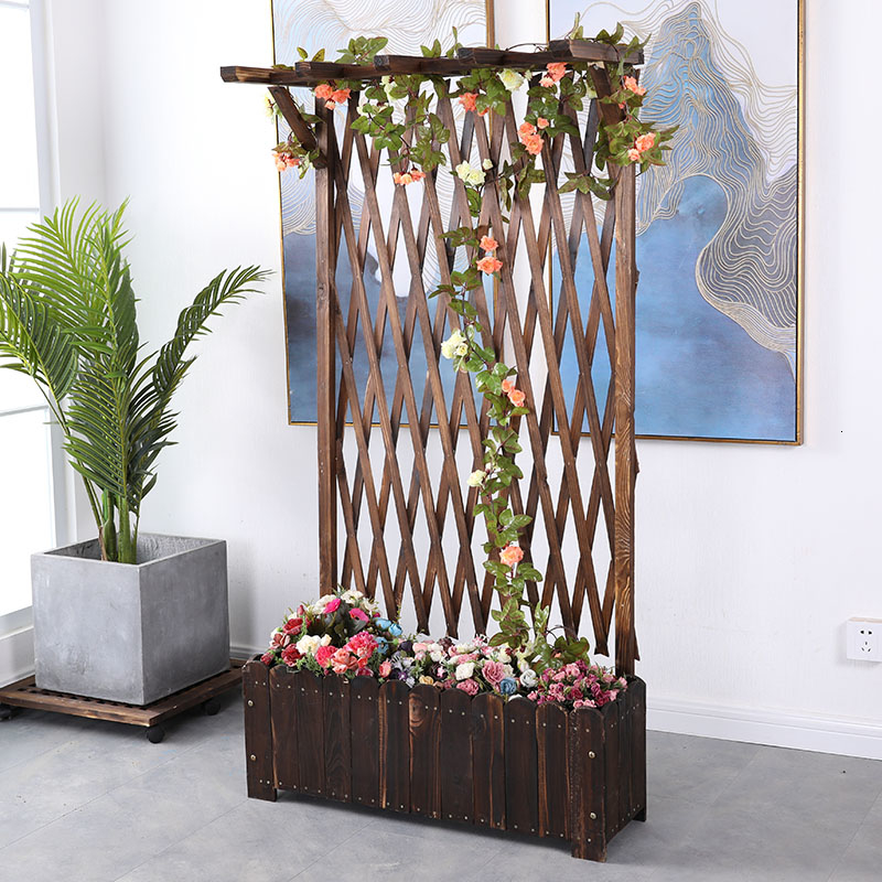 Shavings Box Grid Flower Rack Balcony Climb Arbor Outdoor Yard Courtyard Enclosure Solid Wood Fence Partition Flower Groove