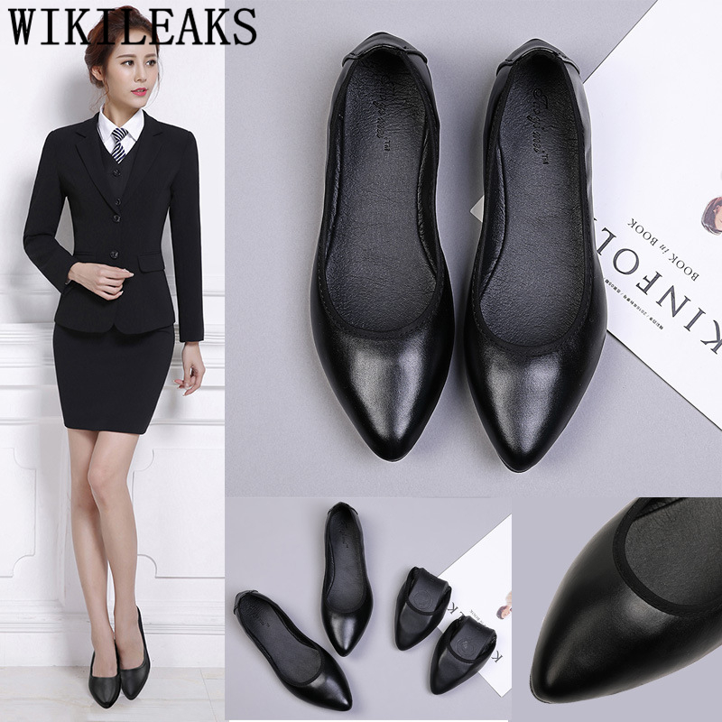 Pointed Toe Flats Leather Shoes Women