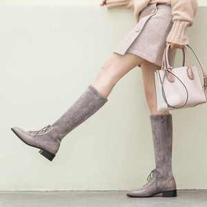 Image 5 - Krazingポット本革パッチワークフロックストレッチブーツ英国のレースアップファッションサイドジップ保温女性はブーツを腿l22