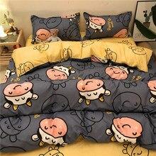 Set 3/4pcs Bedding Set Printed Bed Linen Sheet Plaid Duvet Cover 240x220 Single Double Queen King Quilt Covers Sets Bedclothes