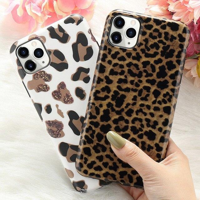 Leopard Fake Glitter Case for IPhone 11 Pro Max X XR XS 7 8 Plus 6 6S SE2020 12 Mini Slim Rubber Soft Phone Cover Funda Coque 2