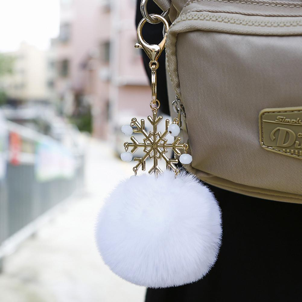 Cute Bag Accessories Pendant Ornament Keychain Pompom Fake Fur Ball Key Chain Fluffy Pompon Keyring Bags Charms Key Ring Gift