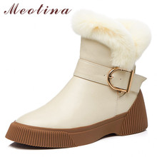 Купить с кэшбэком Meotina Winter Wool Snow Boots Women Natural Genuine Leather Buckle Flat Ankle Boots Warm Real Fur Zipper Shoes Lady Size 34-39