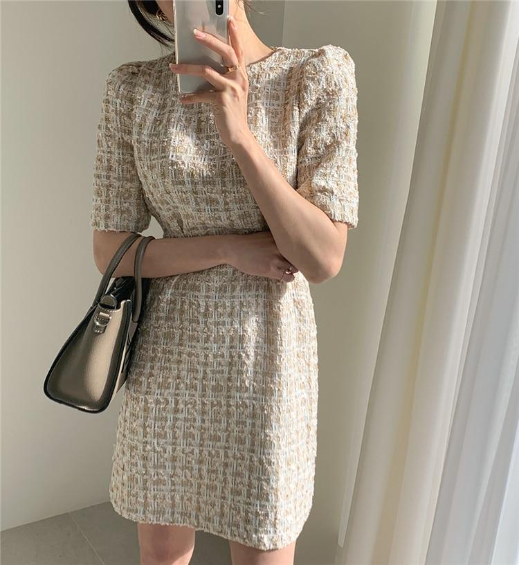 High Waist Casual Puff Sleeve Plaid Elegant Vintage Mini Dress 5