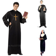 Missionário cosplay trajes para adultos halloween carnaval sacerdote freira longas vestes igreja católica religiosa piedosa roupas vintage