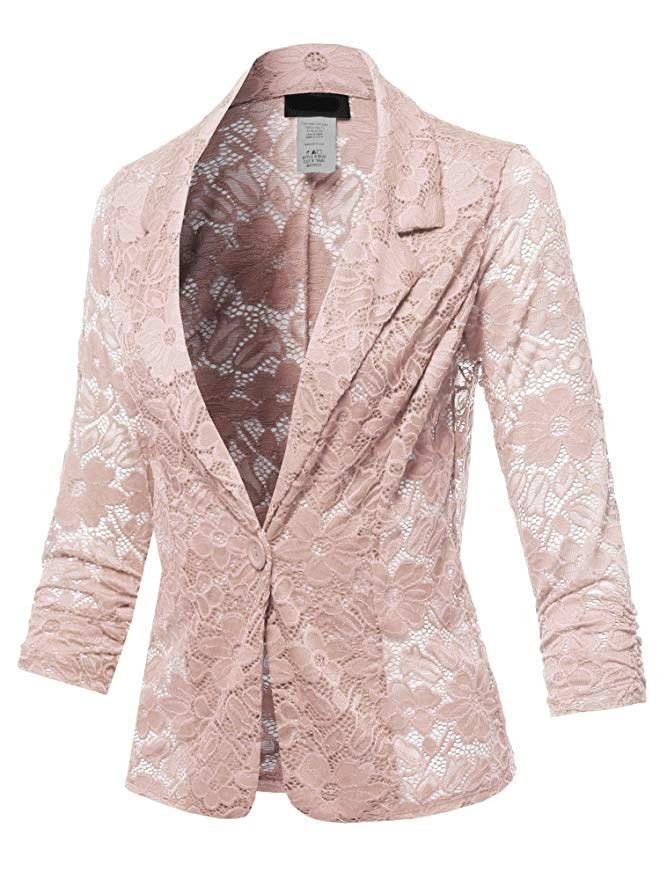 Women Fall Tide Lace Long Sleeve Casual Blazers Single Button Plus Size Slim Coat Notched Office Lady Workwear Solid Blazers