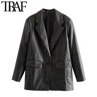 ONKOGENE Frauen Mode PU Faux Leder Lose Blazer Mantel Vintage Taschen Langarm Zurück Vents Weibliche Oberbekleidung Chic Tops