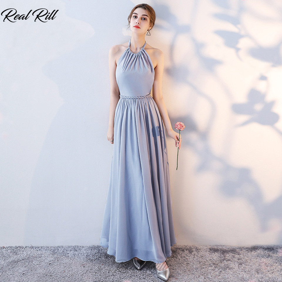 Real Rill Halter Lace Up Back Bridesmaid Dresses With Sash Long Chiffon Wedding Guest Dress For Wedding Party Vestidos De Festa