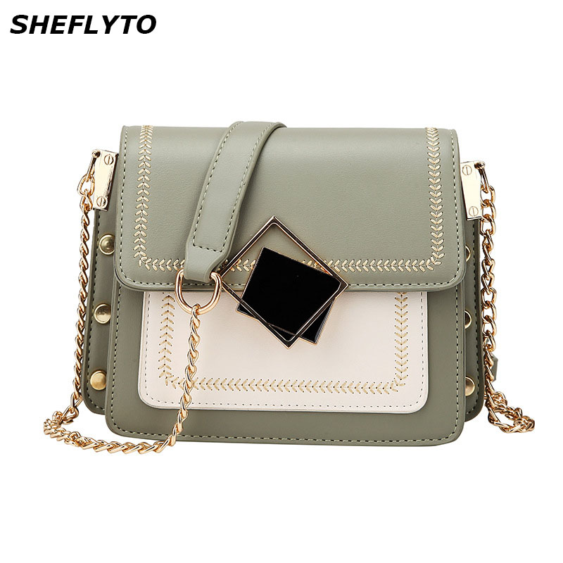 New PU Leather Crossbody Bags For Women Travel Handbags Chain Fashion Simple Small Shoulder Messenger Bags Ladies Small Flaps in Top Handle Bags from Luggage Bags