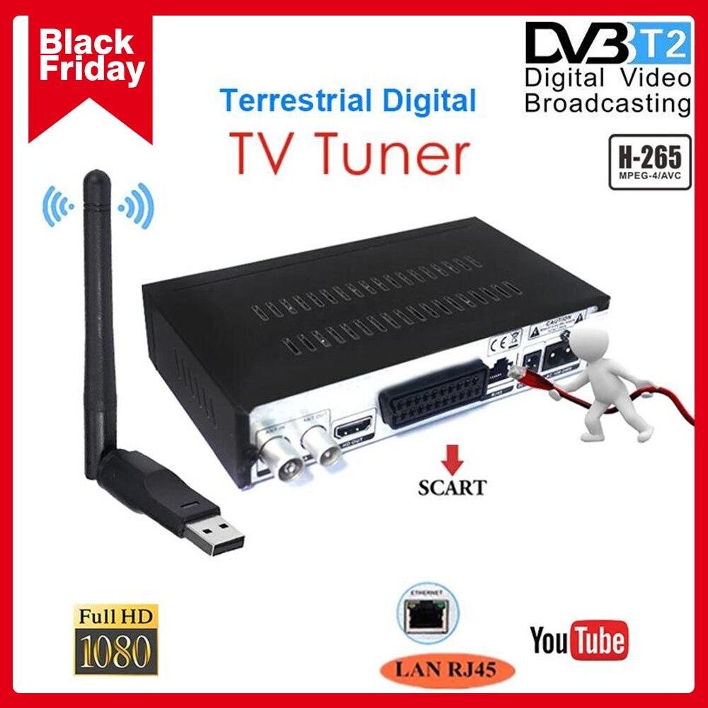 Популярный спутниковый цифровой ТВ-приемник DVB T2 с ТВ Scart LAN RJ45 ТВ-тюнер H.265/HEVC декодер для видео Поддержка Испания YOUTUBE