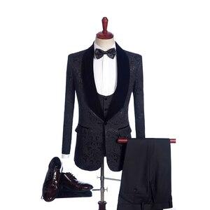 Image 2 - Fnoexw ที่กำหนดเอง 2019 เจ้าบ่าวสีแดง Tuxedos งานแต่งงานชุดสูทธุรกิจเจ้าบ่าวชุดบุรุษชุดแต่งงาน (แจ็คเก็ต + กางเกง + เสื้อกั๊ก + Tie)