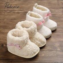 Г., детские ботинки зимние ботинки для новорожденных и маленьких девочек теплая зимняя обувь на меху с пушистым бантом для малышей