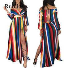 Rubilove 2019 Sexy Style Women Dress Striped V-Neck Full Sleeve Belt Maxi Dress Vestido